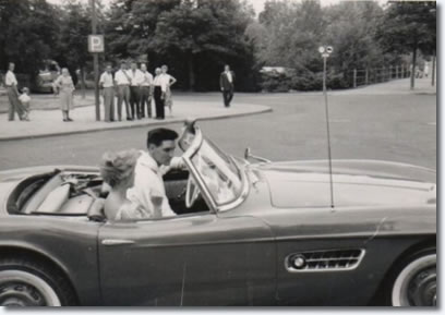 Elvis' in his red BMW 507.