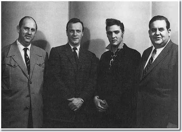 Colonel Parker, Eddy Arnold, Elvis and Steve Sholes.