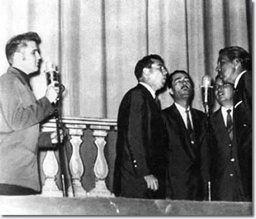Elvis performs with the statesman quartet at ellis auditorium july