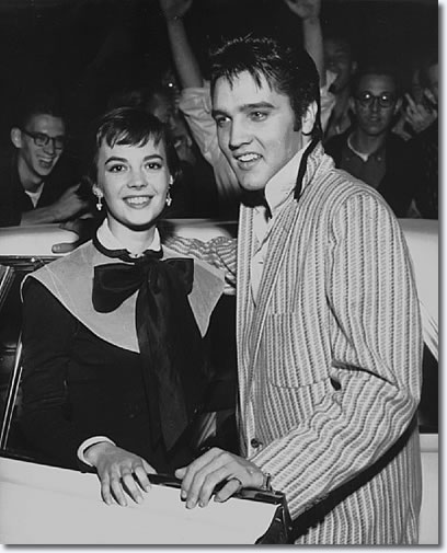 Natalie Wood and Elvis Presley outside the Hotel Chisca Wednesday October 31, 1956.