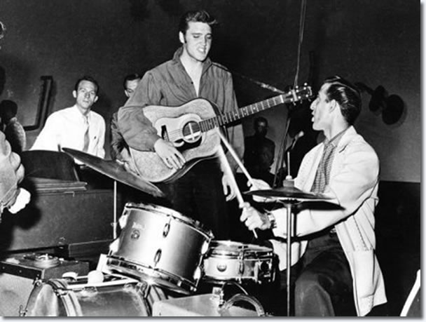 Elvis Presley and DJ Fontana : The Ed Sullivan Show Rehearsals : September 9, 1956.