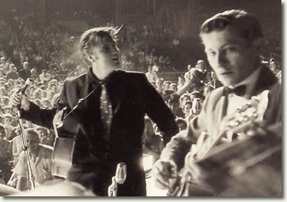 Elvis Presley and Scotty Moore on stage at Russwood  - July 4, 1956