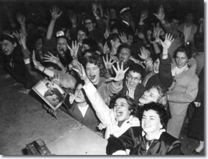 Elvis fans at the Auditorium in Ottawa - Apr. 3, 1957