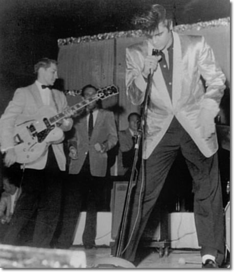 Scotty, Elvis and the Jordanaires onstage at Empire Stadium - Aug. 31, 1957