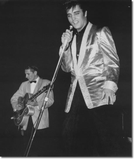 Scotty and Elvis onstage at Empire Stadium - Aug. 31, 1957