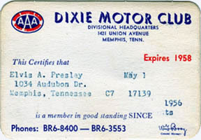 Elvis's Dixie Motor Club AAA membership card, issued in May of 1957. Even though Elvis purchased Graceland earlier that year, the card mistakenly had his Audubon Drive address printed on it.
