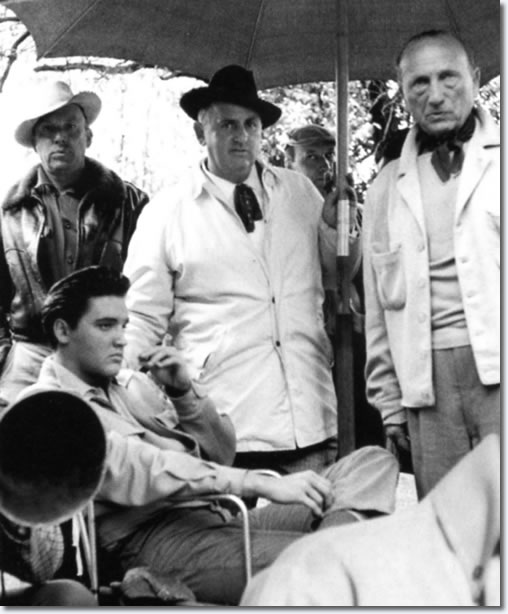 Elvis Presley and Colonel Tom Parker on the set of King Creole