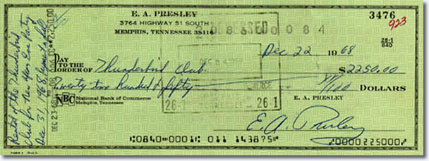 Elvis paid over $2,200 for a New Year's Eve party on December 31, 1968 at the Thunderbird Lounge on Adams Street in Memphis. This was his second consecutive New Year's Eve party at the club. Performers included Short Cuts, Vaneese Starks, Flash and the Board of Directors, Billy Lee Riley and B.J. Thomas.