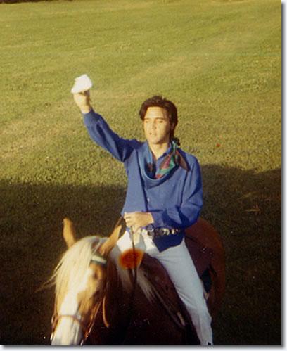 Elvis on Rising Sun at Graceland, circa May-June 1969.