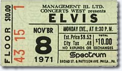 Ticket for Nov 8, 1971 8.30pm Show - Spectrum, Philadelphia. Pa