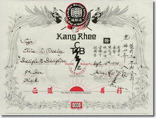 Elvis Presley's 8th Degree San Black Belt certificate