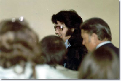 Elvis, leaving his hotel on his way to the evening performance in Long Beach, CA on April 25, 1976