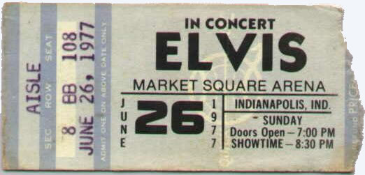 Ticket for Elvis in Concert June 26, 1977, his last concert