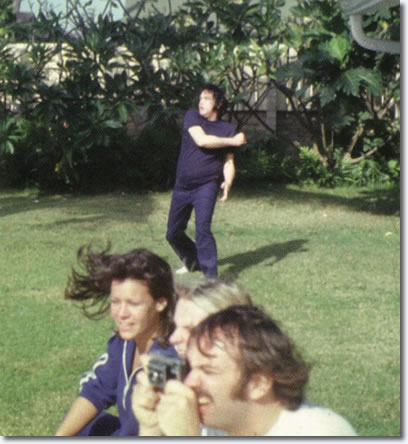 Elvis Presley playing Football in Hawaii March 1977