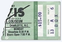 Ticket : Elvis Presley Show - 21 Feb 8.30pm Coliseum, Charlotte, Nc