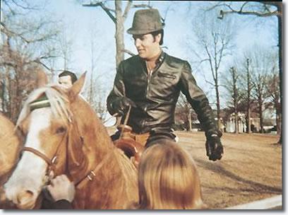 Elvis Presley at Graceland riding Rising Sun