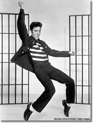 1957: For some reason, people think this typifies the real Elvis. I don't think it does. I think the importance of this photo is that besides Elvis being the father of rock 'n' roll, it shows that he had some natural smarts. In 'Jailhouse Rock,' he personally choreographed all those dance numbers. Those were all his ideas. His gyrations put Michael Jackson to shame.