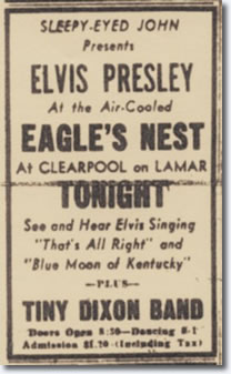 Elvis Presley at the The Eagles Nest on August 7, 1954.