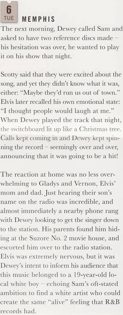 Except from the book, A Boy From Tupelo about Dewey Phillips and Elvis Presleys firest record.