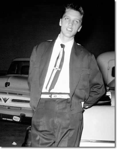 Elvis Presley in parking lot at Lamar Airways Shopping center - September 9, 1954