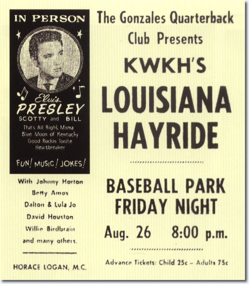 Print Ad for Elvis Presley's Louisiana Hayride Performance August 26, 1955