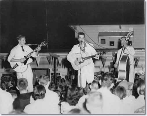 Scotty, Elvis and Bill at the Joy Drive-In Theatre in Minden - July 15, 1955