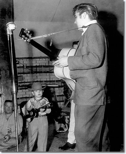Ralph Lowe Jr., Scotty and Elvis onstage at the Cotton Club - Oct. 15, 1955.