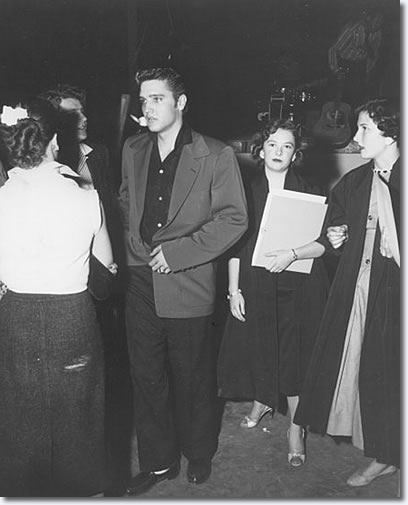 Bob Montgomery and Elvis with fan club members after performing - Apr. 10, 1956