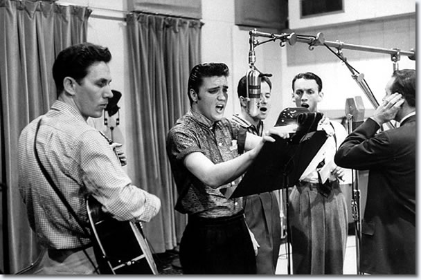Chet Atkins, Elvis Presley, Gordon Stoker, Ben and Brock Spear - April 14, 1956