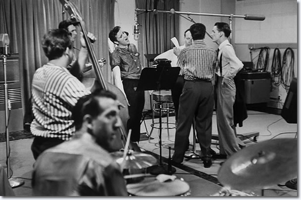 Bill Black, DJ Fontana, Chet Atkins, Elvis Presley, Gordon Stoker, Ben and Brock Spear - April 14, 1956