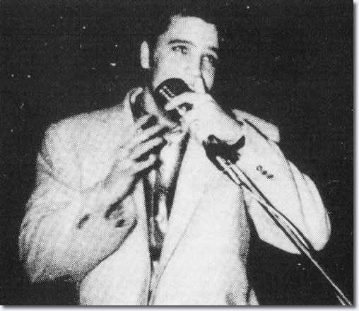 Elvis Presley on stage : The First Show : April 15, 1956.