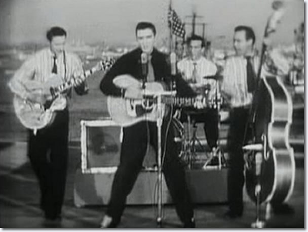 Scotty Moore, Elvis Presley, DJ Fontana and Bill Black : The Milton Berle Show : April 3, 1956.