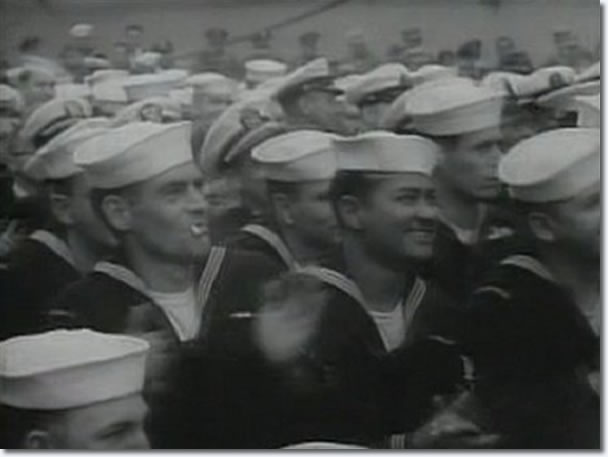 The Milton Berle Show : April 3, 1956 : Service personnel aboard the U.S.S. Hancock watch the show.