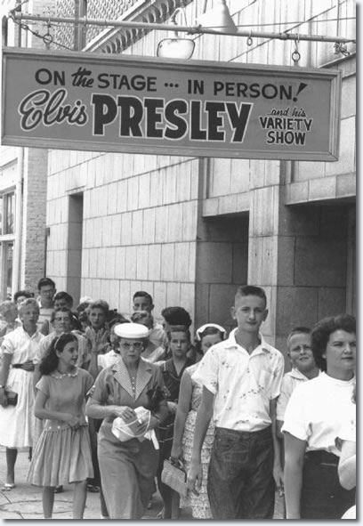 Crowds await entrance to see Elvis Presley performs at one of his two concerts at the Florida Theatre on August 10 & 11, 1956.