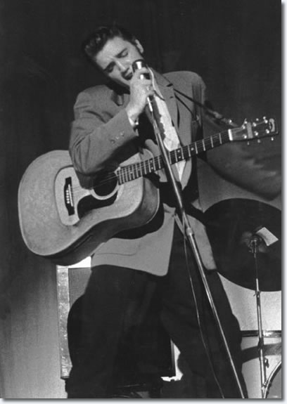 Elvis Presley performs at one of his two concerts at the Florida Theatre on August 10 & 11, 1956.