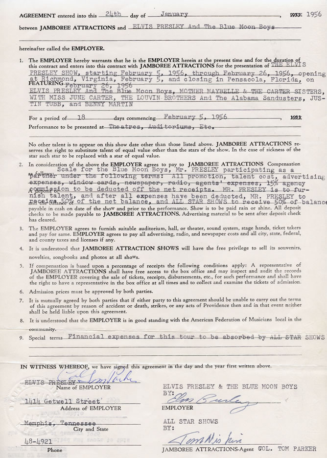 1956 business contract signed by Col. Parker and Elvis to signify the start of The Elvis Presley Show, with performance dates between February 5 and February 26.
