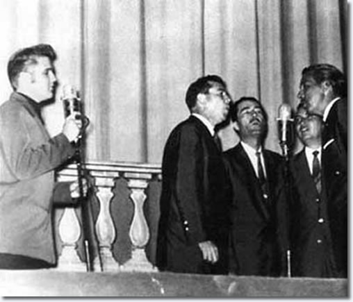 Elvis performs with The Statesman Quartet at Ellis Auditorium : July 27, 1956