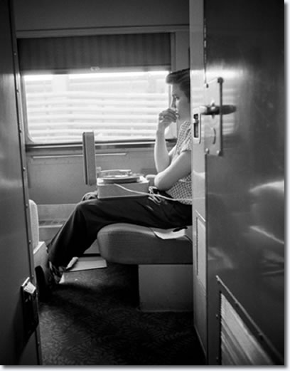 During the train ride Elvis listened over and over again to the recordings he had made the previous day. In the above photo Elvis listen's in bed to a replay one last time.