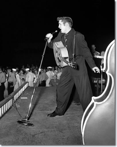 Elvis performed at Russwood Park on July 4, 1956. Photographer Robert W. Dye had access most fans would have died for, watching the show on stage 10 feet from Elvis. Asked once about how he got to be on stage, Dye answered, 'It was the only safe place to be. Those girls in the audience would mob you'.
