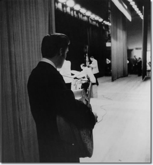 Elvis Presley - Waiting in the wings of the Mosque stage - June 30, 1956
