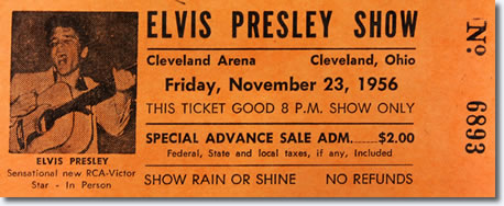 Ticket for show; Elvis Presley at the Cleveland Arena, Ohio - November 23, 1956