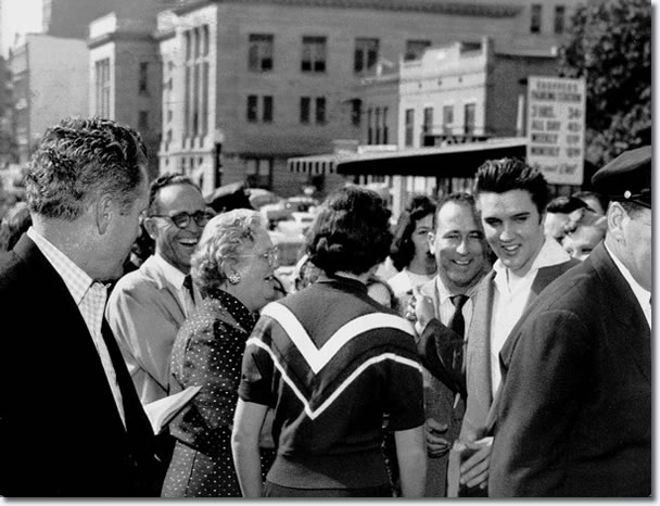Elvis Presley swapped pleasantries with well-wishers after being cleared : October 19, 1956.
