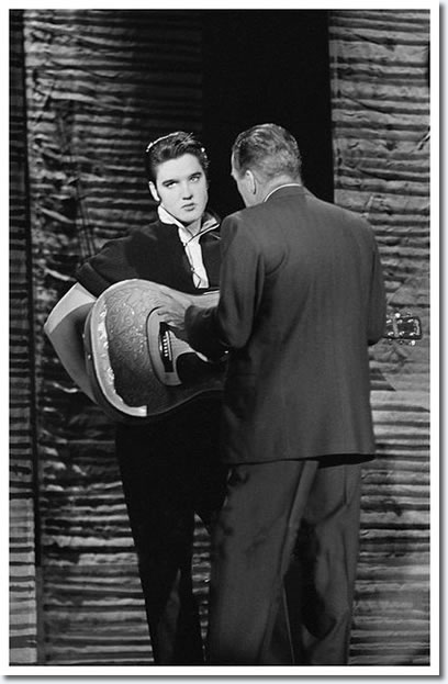 Elvis Presley and Ed Sullivan : Rehearsals : The Ed Sullivan Show : New York, October 26, 1956.