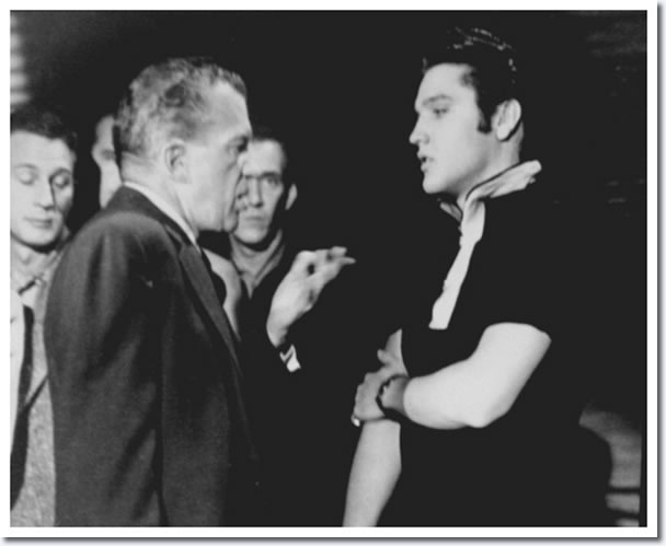 Ed Sullivan and Elvis Presley : Rehearsals : The Ed Sullivan Show : New York, October, 1956.