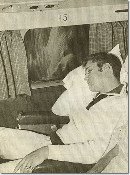 Elvis - September 23, 1956 asleep, during his flight back to Memphis Elvis (using the name Clint Reno).