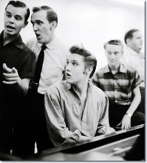 L-R Neal Mattews, Hugh Jarrett, Elvis at the piano, Gene Smith and Steve Sholes.