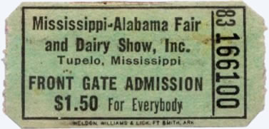Ticket for Elvis Presley Show 1956 - Tupelo, MS. Mississippi-Alabama Fairgrounds