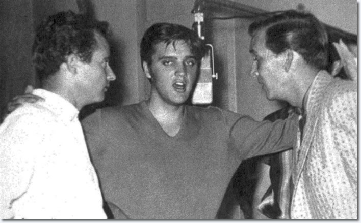 Elvis Presley : Sunday 2nd / Monday 3rd September 1956, L-R Gordon Stoker, Elvis Presley and )Hugh Jarrett.