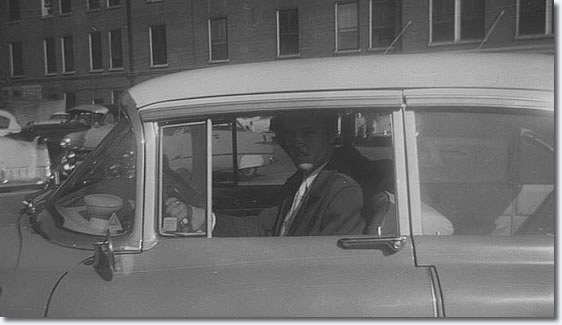 Elvis arriving - or leaving in his famous Pink Cadillac - after visiting his mother in hospital