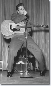 Elvis Presley on stage at the New Frontier Hotel Las Vegas.